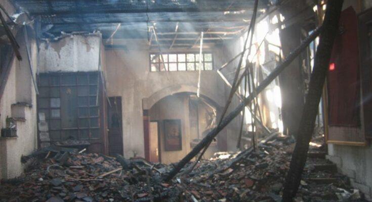 Bora_Stanković_theater_after_the_fire
